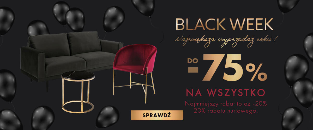 Promocja BLACK WEEK, 27.11-30.11.2020 na produkty INTESI, SIMPLET, D2.Design, Maduu Studio, Actona, Umbra, Light & Living, Polyhedra, Altavola, Resol
